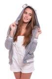 Muchacha en sudadera con capucha divertida Fotos de archivo