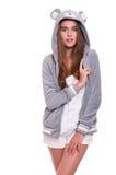 Muchacha en sudadera con capucha divertida Fotos de archivo libres de regalías