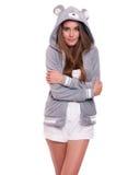 Muchacha en sudadera con capucha divertida Imagen de archivo libre de regalías