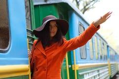 Muchacha en tren Fotos de archivo libres de regalías