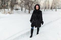 Muchacha en un abrigo de pieles negro Imagen de archivo