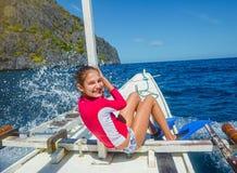 Muchacha en un barco Fotos de archivo libres de regalías
