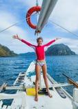 Muchacha en un barco Fotografía de archivo libre de regalías