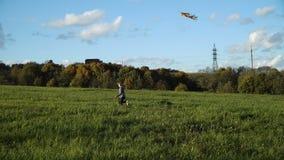 Muchacha en un campo con una cometa metrajes