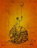 Muchacha en un caracol con el globo Foto de archivo libre de regalías