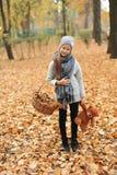 Muchacha en un casquillo con una cesta de hojas de otoño en parque del otoño por la tarde Fotografía de archivo