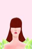 Muchacha en un fondo rosado ilustración del vector