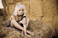 Muchacha en un heno Foto de archivo libre de regalías