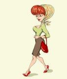 Muchacha en un mantón retro Imagen de archivo