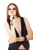 Muchacha en un maquillaje oscuro con el grano Imagen de archivo