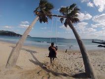 Muchacha en un oscilación de la cuerda de la palmera en la playa foto de archivo