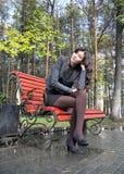 Muchacha en un parque del otoño Imágenes de archivo libres de regalías