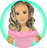 Muchacha en un T-cortocircuito rosado stock de ilustración