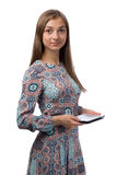Muchacha en un Tablet PC Foto de archivo libre de regalías