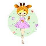 Muchacha en un traje de ciervos libre illustration