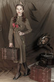 Muchacha en un uniforme militar soviético Imágenes de archivo libres de regalías