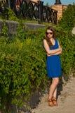 Muchacha en un vestido azul el parque Foto de archivo