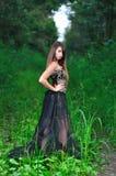 Muchacha en un vestido de noche negro en la madera Fotos de archivo