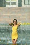 Muchacha en un vestido furtivo corto con el pelo mojado largo en gotitas de agua en la fuente de la ciudad Foto de archivo