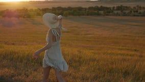 Muchacha en un vestido que hace girar en el campo metrajes
