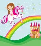 Muchacha en un vuelo del unicornio en un arco iris Imágenes de archivo libres de regalías