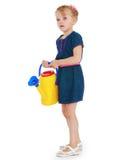 Muchacha en una alineada azul Imágenes de archivo libres de regalías