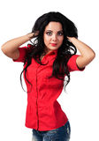 Muchacha en una camisa roja Foto de archivo