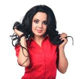 Muchacha en una camisa roja Fotografía de archivo