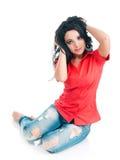 Muchacha en una camisa roja Imagen de archivo libre de regalías