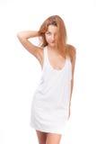 Muchacha en una camiseta blanca Fotos de archivo