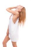 Muchacha en una camiseta blanca Imagenes de archivo