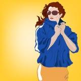 Muchacha en una chaqueta azul stock de ilustración
