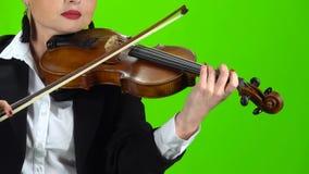Muchacha en una chaqueta que toca el violín Pantalla verde Cierre para arriba almacen de video