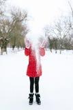 Muchacha en una chaqueta roja en invierno Imágenes de archivo libres de regalías