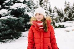 Muchacha en una chaqueta roja en invierno Fotos de archivo