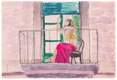Muchacha en una falda rosada, fumando en el balcón Foto de archivo