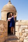 Muchacha en una fortaleza Foto de archivo libre de regalías