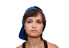 Muchacha en una gorra de béisbol Fotografía de archivo