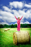 Muchacha en una lámina del prado y del heno Foto de archivo