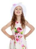 Muchacha en una Panamá blanca Imagen de archivo libre de regalías