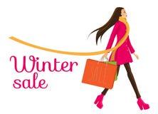 Muchacha en venta grande del invierno Imagen de archivo