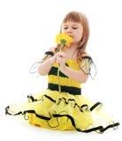 Muchacha en verano amarillo del vestido Imagen de archivo