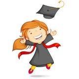 Muchacha en vestido de la graduación stock de ilustración