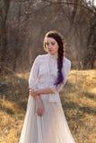 Muchacha en vestido del vintage Imagenes de archivo