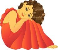 Muchacha en vestido rojo Fotos de archivo