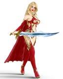 Muchacha en vestido rojo del guerrero con la espada Imagen de archivo libre de regalías