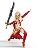 Muchacha en vestido rojo del guerrero con la espada Imagenes de archivo