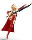 Muchacha en vestido rojo del guerrero con la espada Fotografía de archivo
