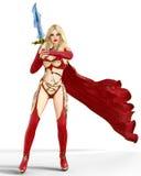 Muchacha en vestido rojo del guerrero con la espada Foto de archivo