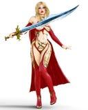 Muchacha en vestido rojo del guerrero con la espada Imágenes de archivo libres de regalías